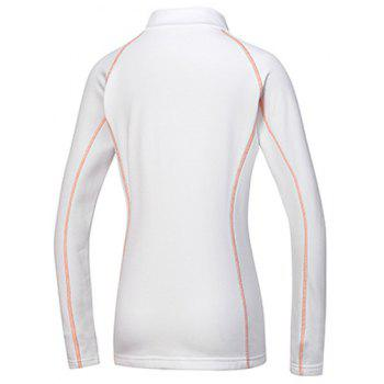 Active Stand Collar Long Sleeve Sport T-Shirt For Women - WHITE WHITE