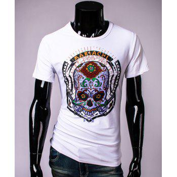 Modish Round Neck Extraordinary Skull Pattern Short Sleeve Men's T-Shirt