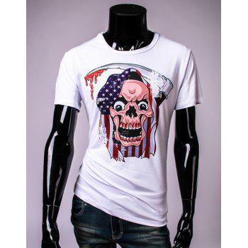 Stylish Round Neck Stars Print Skull Pattern Short Sleeve Men's T-Shirt