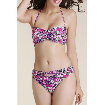 Buy Stylish Halter Women's Twist Bandeau Floral Print Bikini Set PURPLE