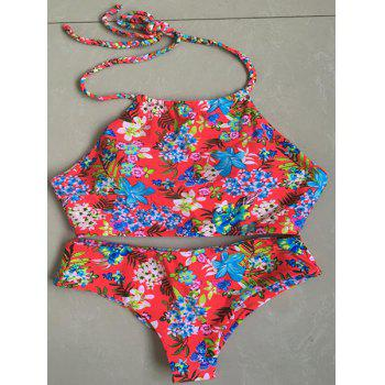 Chic Halter Braid Floral Printed Women's Bikini Set