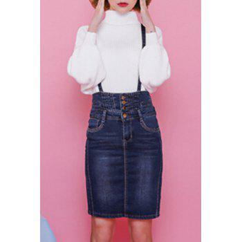 Preppy Rhinestone Embellished Women's Denim Suspender Skirt
