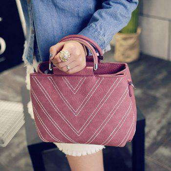 Trendy Stitching and PU Leather Design Women's Tote Bag - PINK