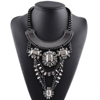 Vintage Alloy Faux Crystal Hollow Out Necklace For Women