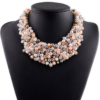Faux Pearl Rhinestone Hollow Out Necklace