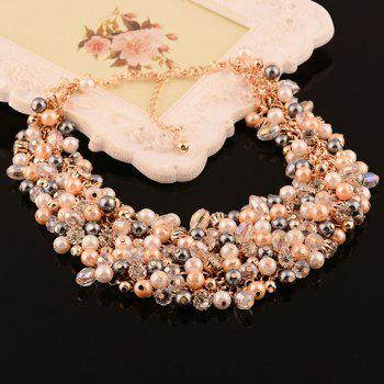 Faux Pearl Rhinestone Hollow Out Necklace - GRAY