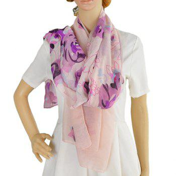 Stylish Rose Floral Pattern Voile Scarf For Women