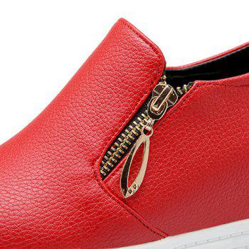 Concise Zipper and Letter Design Women's Wedge Shoes - RED 39
