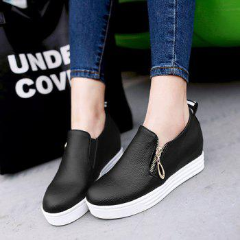 Concise Zipper and Letter Design Women's Wedge Shoes - 38 38
