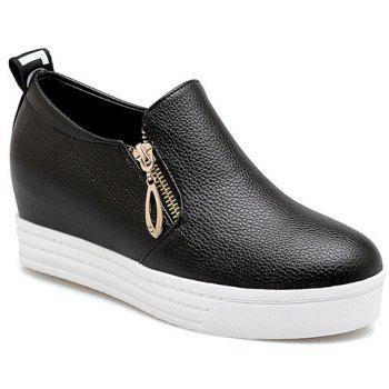 Concise Zipper and Letter Design Women's Wedge Shoes - BLACK BLACK