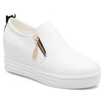 Concise Zipper and Letter Design Women's Wedge Shoes - WHITE WHITE
