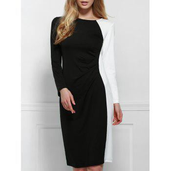 Elegant Scoop Neck Long Sleeve Black and White Spliced Plus Size Women's Dress