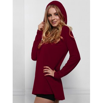 Sexy Hooded Solid Color Lace-Up Long Sleeve T-Shirt For Women