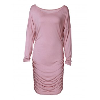 Sexy Skew Neck Long Sleeve Ruched Solid Color Women's Dress