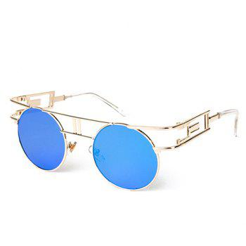 Buy Chic Golden Round Frame Hollow Design Women's Sunglasses BLUE
