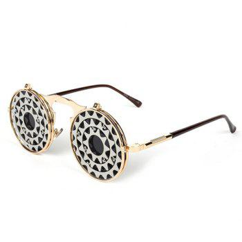 Fashion Gear Shape Embellished Clamshell Sunglasses - GOLDEN GOLDEN