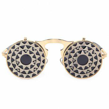 Fashion Gear Shape Embellished Clamshell Sunglasses -  GOLDEN