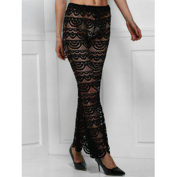 Sexy See-Through Solid Color Women's Lace Pants - BLACK BLACK
