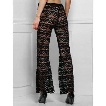 Sexy See-Through Solid Color Women's Lace Pants - BLACK L