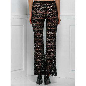 Sexy See-Through Solid Color Women's Lace Pants - BLACK M