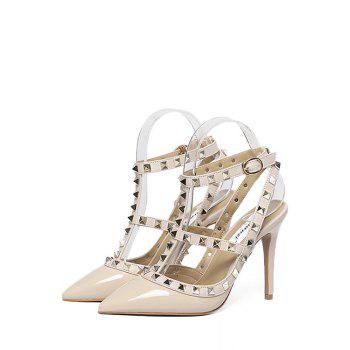 Sexy Strap and Rivet Design Pumps For Women - APRICOT 36