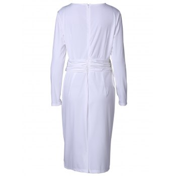 Chic Round Collar Long Sleeve Bodycon Pure Color Women's Dress - WHITE 2XL