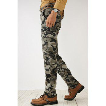 Loose Fit Pockets Design Zipper Fly Como Long Cargo Pants For Men - ARMY GREEN 30