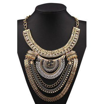 Stylish Multi-Layered Metal Chunky Necklace For Women - GOLDEN