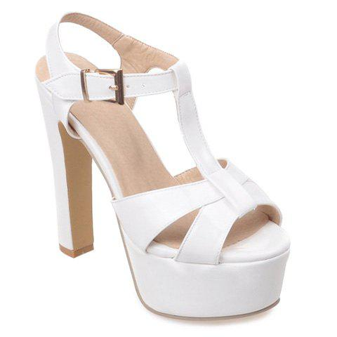 Fashionable T-Strap and Platform Design Sandals For Women - WHITE 38