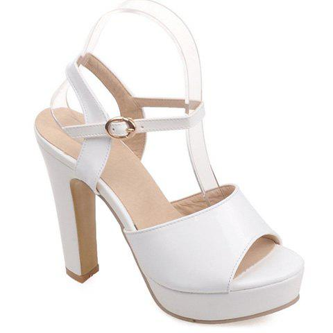 Trendy Peep Toe and Patent Leather Design Sandals For Women - WHITE 37