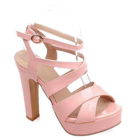 Stylish Chunky Heel and Patent Leather Design Sandals For Women