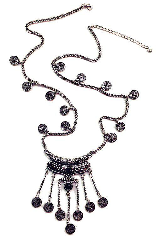 Vintage Crescent Coin Tassel Necklace For Women