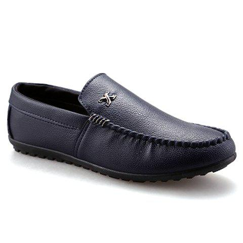 Stylish Stitching and Metal Design Men's Casual Shoes - BLUE 40