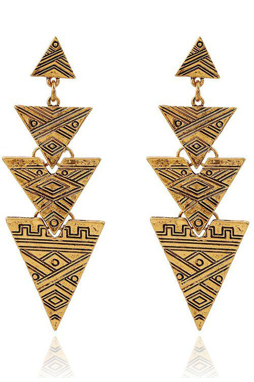 Retro Carving Stitching Triangle Drop Earrings - GOLDEN