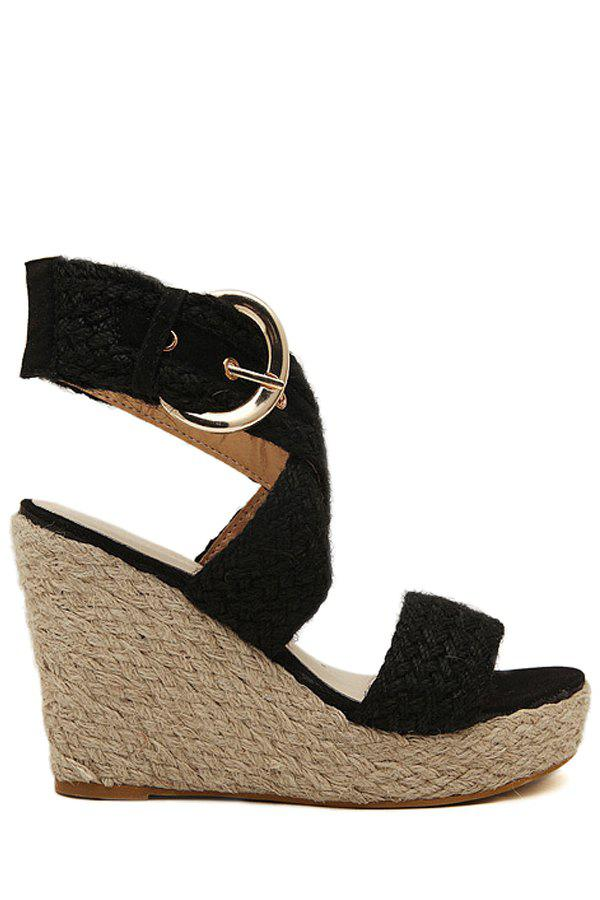 Bohemian Weaving and Cross-Strap Design Sandals For Women