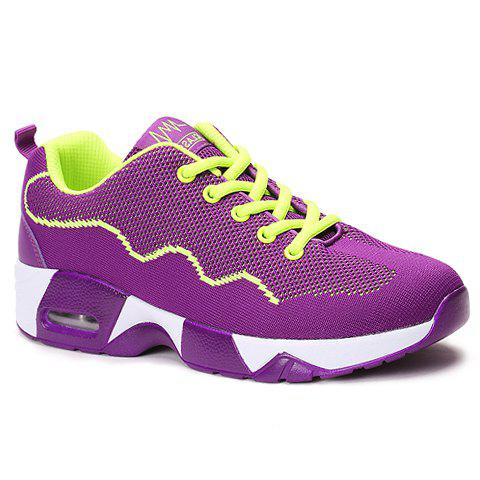 Stylish Mesh and Color Block Design Women's Athletic Shoes - PURPLE 37