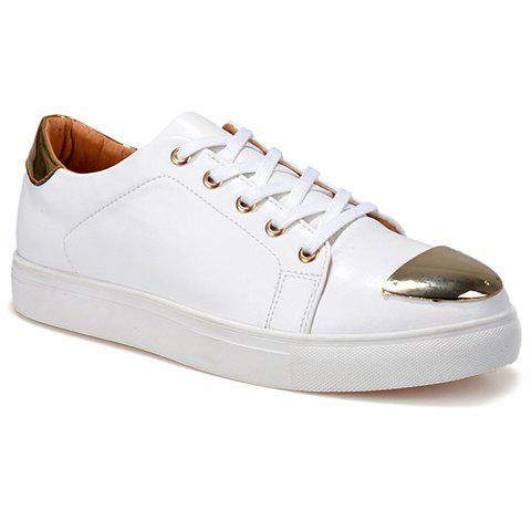 Stylish Metal and Lace-Up Design Men's Casual Shoes - WHITE 42