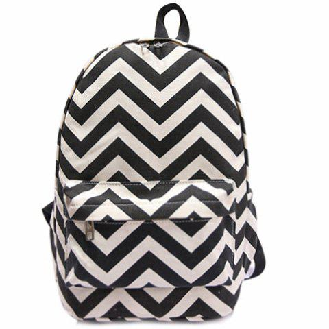 Preppy Style Stripe and Color Matching Design Satchel For Women - BLACK
