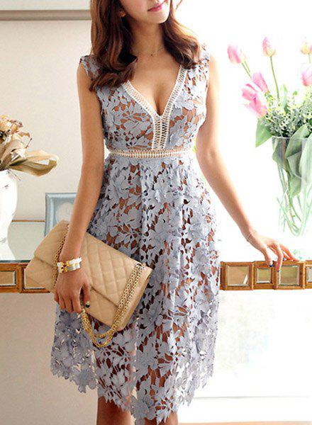 Sexy Women's V-Neck Sleeveless Hollow Out Lace Dress - LIGHT BLUE XL