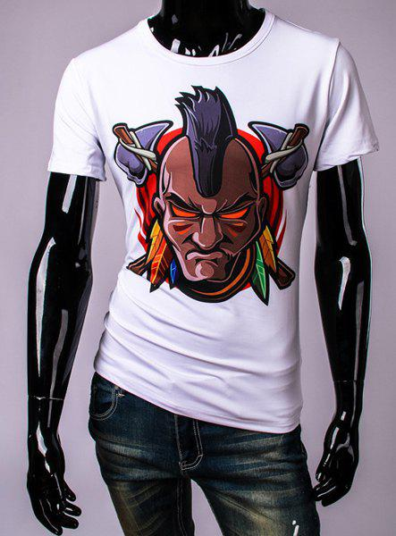 3D Tribe Man Print Round Neck Short Sleeve Men's T-Shirt - WHITE 2XL