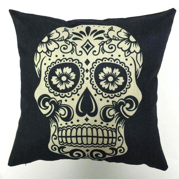 High Quality Square Shape Skull Pattern Flax Pillow Case(Without Pillow Inner) - WHITE/BLACK