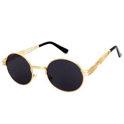 Chic Hollow Out Golden Leg and Round Frame Design Women's Sunglasses - BLACK