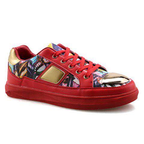 Trendy Metal and Butterfly Pattern Design Men's Casual Shoes - RED 39