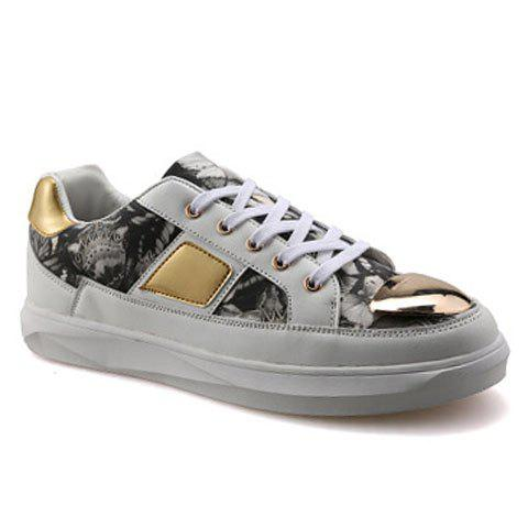 Trendy Metal and Butterfly Pattern Design Men's Casual Shoes - WHITE 40