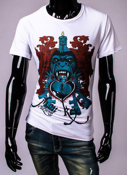3D Candle Cartoon Lock Heart Print Round Neck Short Sleeve Men's T-Shirt - WHITE 2XL