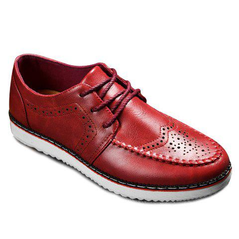 Fashion Engraving and PU Leather Design Casual Shoes For Men - RED 41