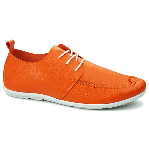Simple Solid Colour and Stitching Design Men's Casual Shoes - ORANGE 39