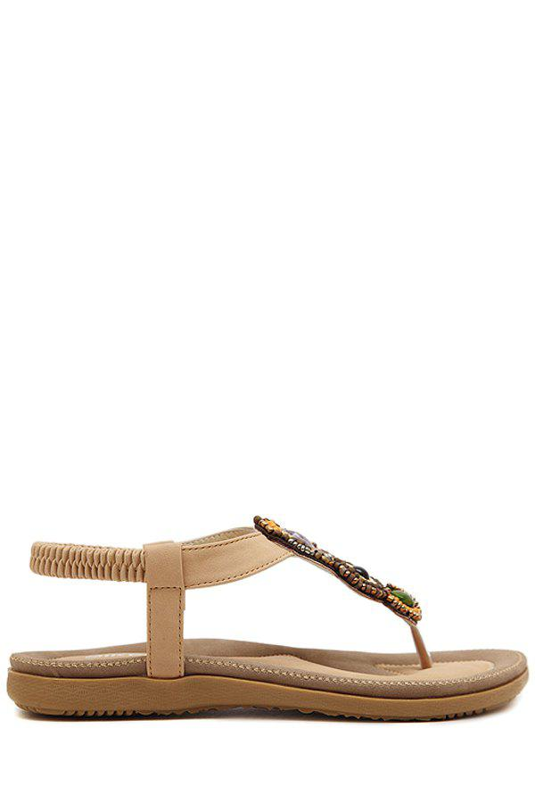 Bohemia Beading and Flat Heel Design Sandals For Women - APRICOT 39