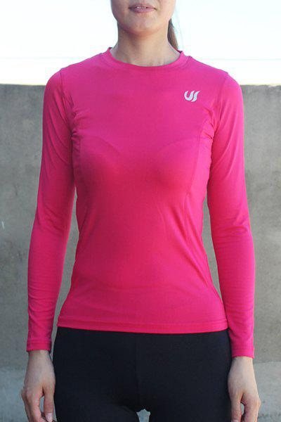 Active Elastic Long Sleeve Jewel Neck Sport T-Shirt For Women - RED S