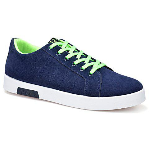 Simple Cotton Fabric and Lace-Up Design Sneakers For Men - GREEN 40